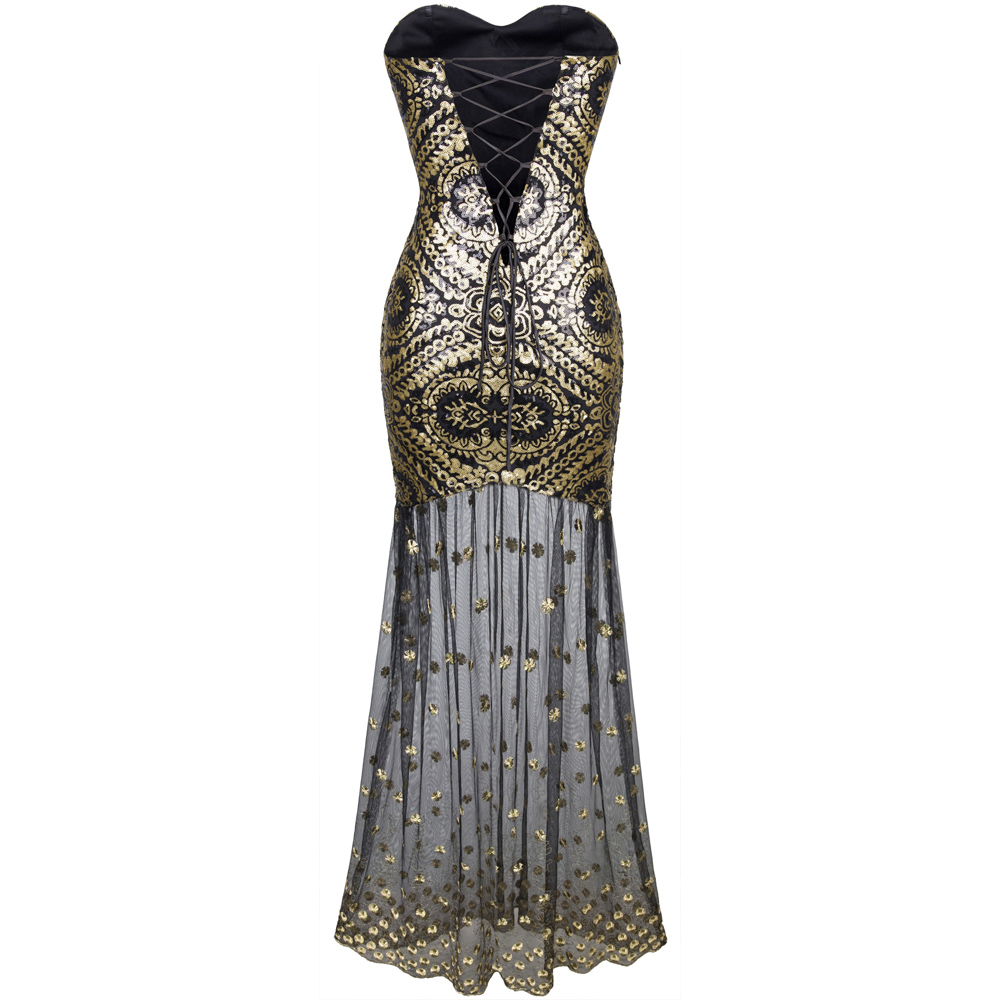 Black And Gold High Low Occasional Dress Style Af25 Bu