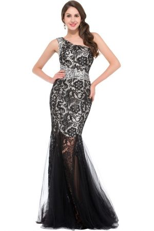 Grace-Karin-Elegant-One-Shoulder-Long-Evening-Dress-Mermaid-Prom-Dresses-Scalloped-Embroidery-Lace-Red-Black 1