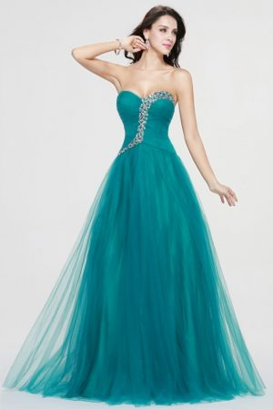 Sexy-Sweetheart-Long-Prom-Dresses-2019-Hot-Green-Tulle-Crystal-Formal-Evening-Gowns-PD69 6